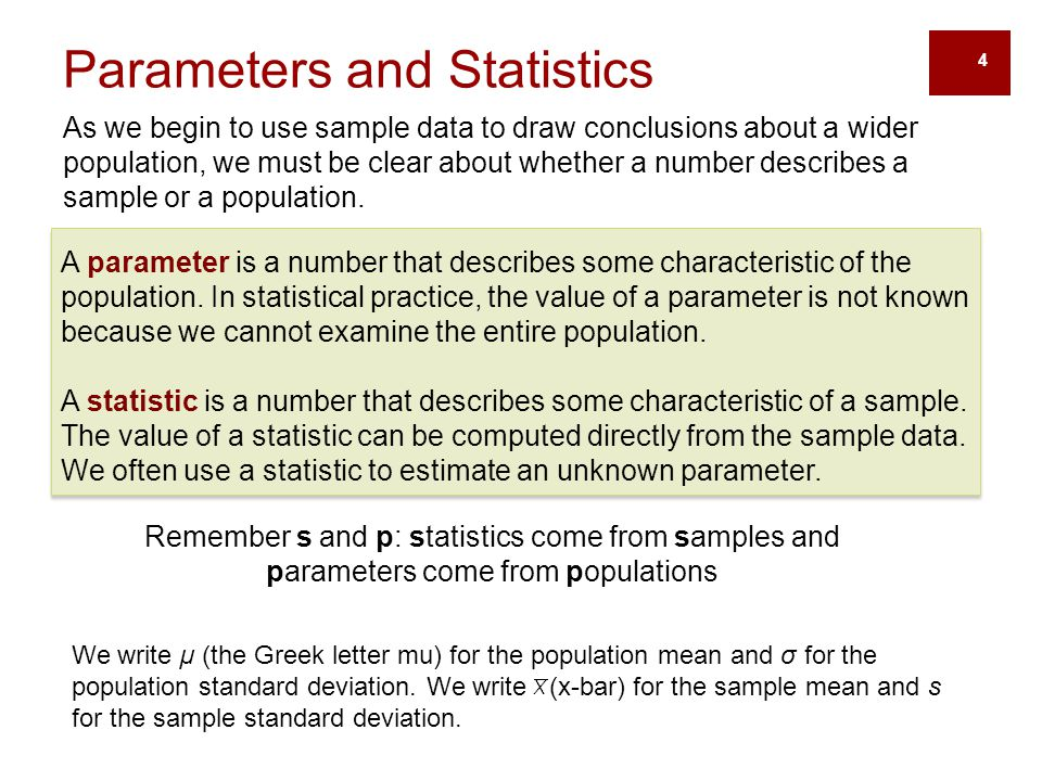 As we begin to use sample data to draw conclusions about a wider population, we must be clear about whether a number describes a sample or a populatio