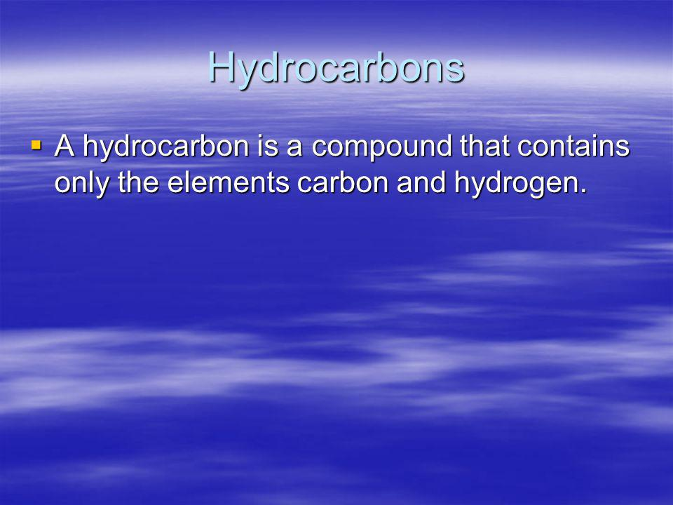 Hydrocarbons A hydrocarbon is a compound that contains only the elements carbon and hydrogen.