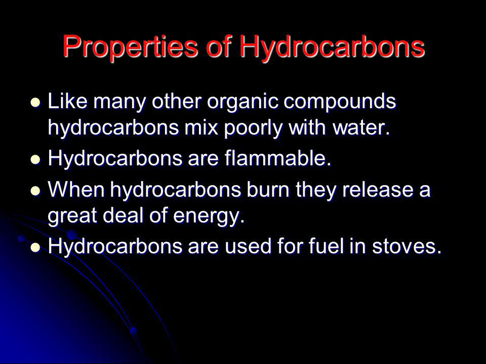 Properties of Hydrocarbons Like many other organic compounds hydrocarbons mix poorly with water.