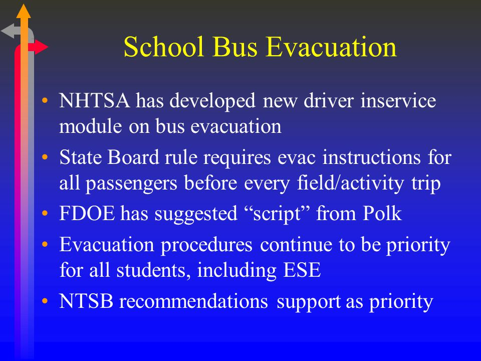 School Bus Evacuation NHTSA has developed new driver inservice module on bus evacuation State Board rule requires evac instructions for all passengers before every field/activity trip FDOE has suggested script from Polk Evacuation procedures continue to be priority for all students, including ESE NTSB recommendations support as priority