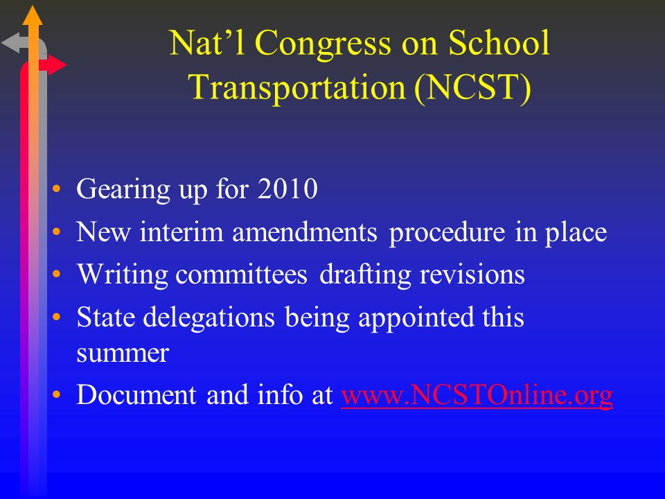 Natl Congress on School Transportation (NCST) Gearing up for 2010 New interim amendments procedure in place Writing committees drafting revisions State delegations being appointed this summer Document and info at www.NCSTOnline.orgwww.NCSTOnline.org