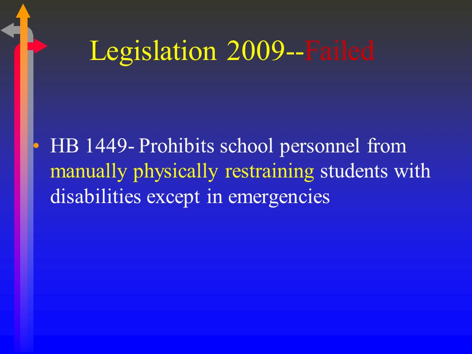 Legislation 2009--Failed HB 1449- Prohibits school personnel from manually physically restraining students with disabilities except in emergencies