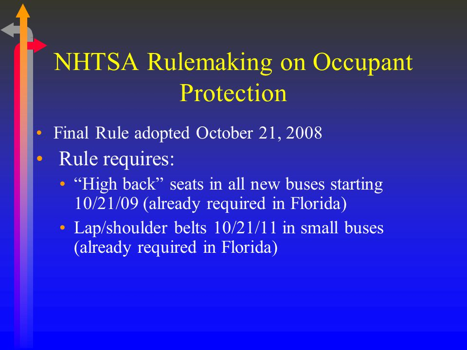 NHTSA Rulemaking on Occupant Protection Final Rule adopted October 21, 2008 Rule requires: High back seats in all new buses starting 10/21/09 (already required in Florida) Lap/shoulder belts 10/21/11 in small buses (already required in Florida)