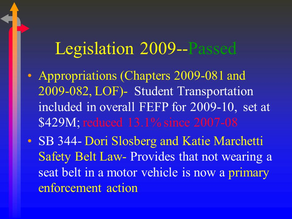 Legislation 2009--Passed Appropriations (Chapters 2009-081 and 2009-082, LOF)- Student Transportation included in overall FEFP for 2009-10, set at $429M; reduced 13.1% since 2007-08 SB 344- Dori Slosberg and Katie Marchetti Safety Belt Law- Provides that not wearing a seat belt in a motor vehicle is now a primary enforcement action