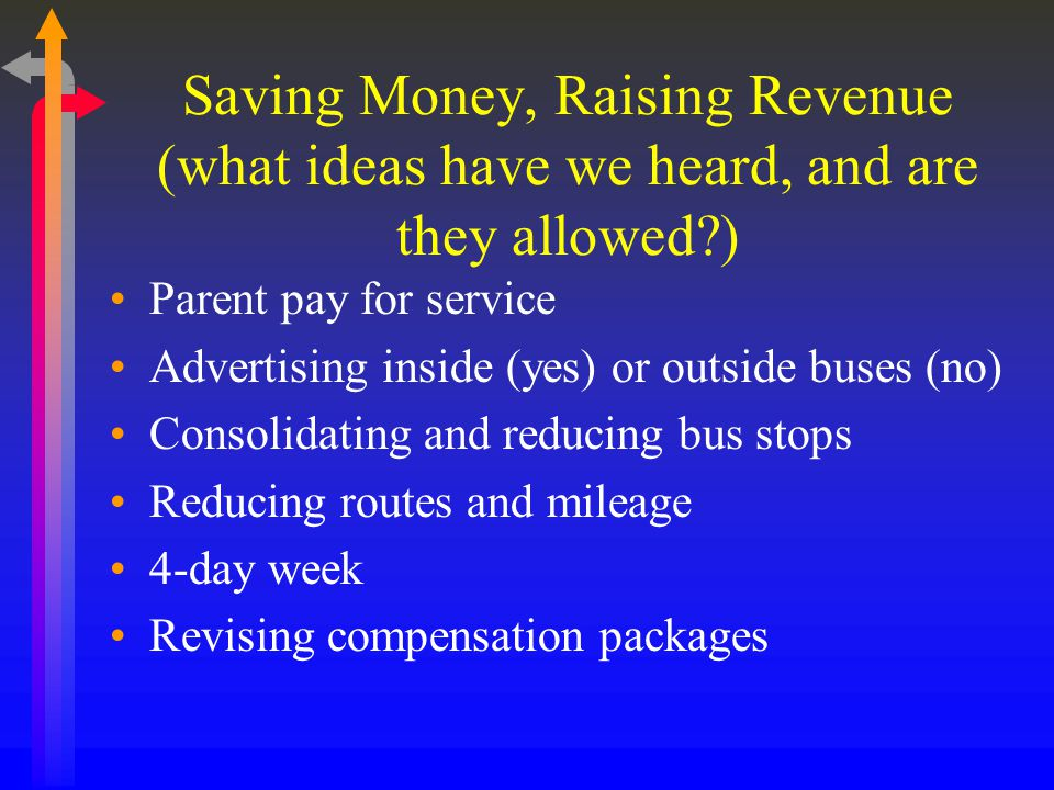 Saving Money, Raising Revenue (what ideas have we heard, and are they allowed?) Parent pay for service Advertising inside (yes) or outside buses (no) Consolidating and reducing bus stops Reducing routes and mileage 4-day week Revising compensation packages