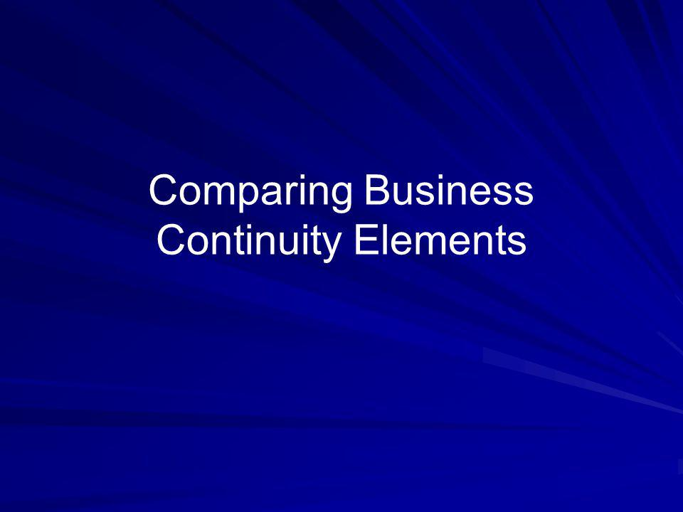 Comparing Business Continuity Elements