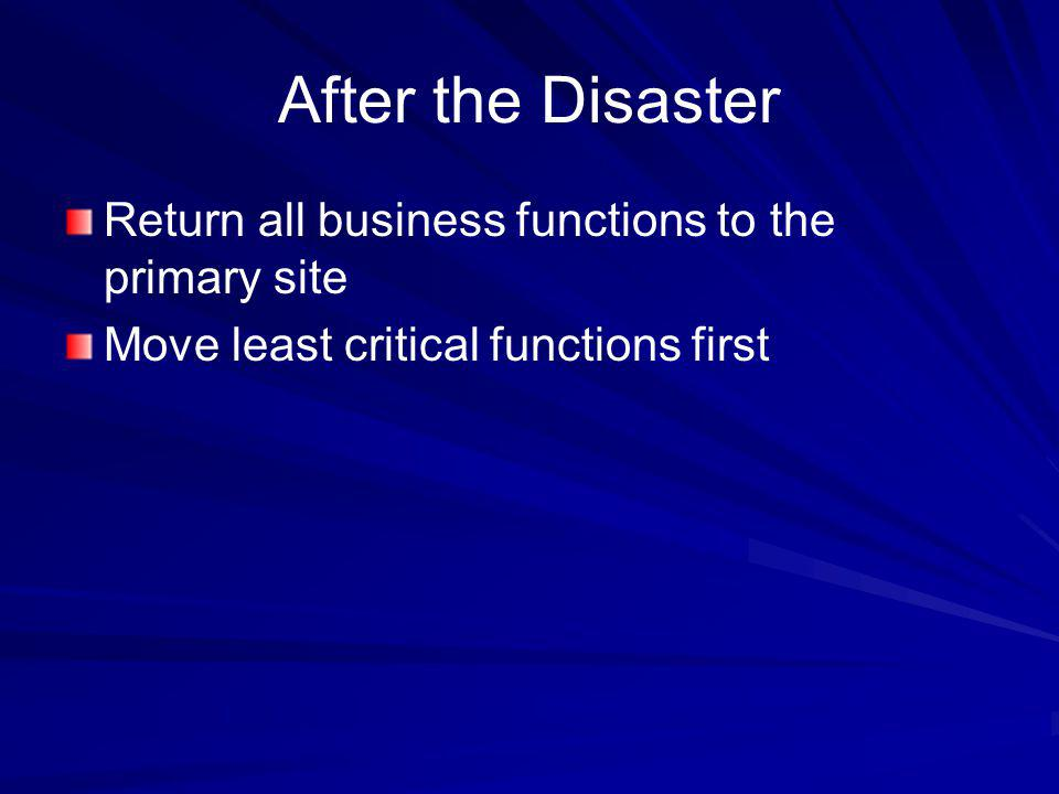 After the Disaster Return all business functions to the primary site Move least critical functions first