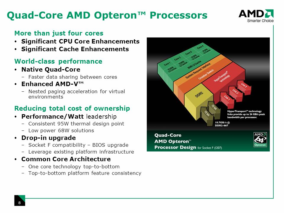 8 Quad-Core AMD Opteron Processors More than just four cores Significant CPU Core Enhancements Significant Cache Enhancements World-class performance Native Quad-Core –Faster data sharing between cores Enhanced AMD-V –Nested paging acceleration for virtual environments Reducing total cost of ownership Performance/Watt leadership –Consistent 95W thermal design point –Low power 68W solutions Drop-in upgrade –Socket F compatibility – BIOS upgrade –Leverage existing platform infrastructure Common Core Architecture –One core technology top-to-bottom –Top-to-bottom platform feature consistency
