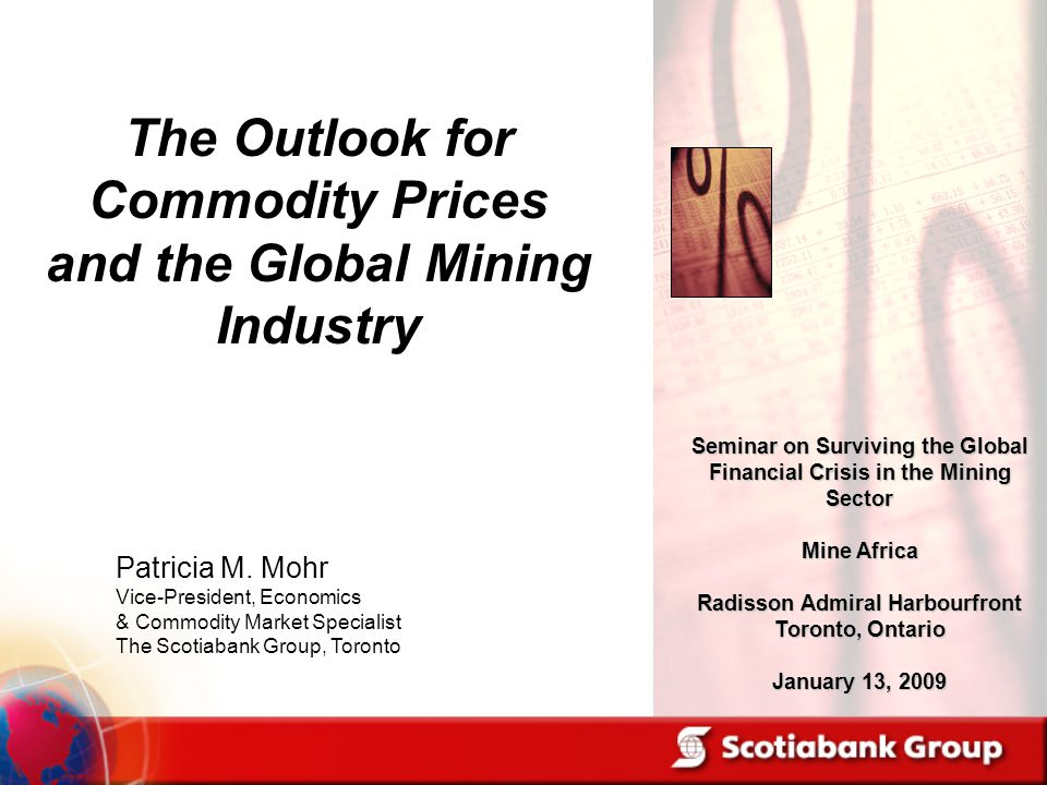 Patricia M. Mohr Vice-President, Economics & Commodity Market Specialist The Scotiabank Group, Toronto Seminar on Surviving the Global Financial Crisi