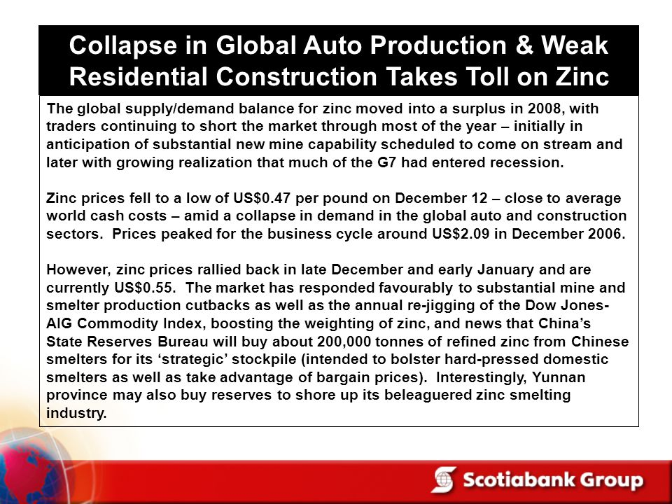 Collapse in Global Auto Production & Weak Residential Construction Takes Toll on Zinc The global supply/demand balance for zinc moved into a surplus in 2008, with traders continuing to short the market through most of the year – initially in anticipation of substantial new mine capability scheduled to come on stream and later with growing realization that much of the G7 had entered recession.