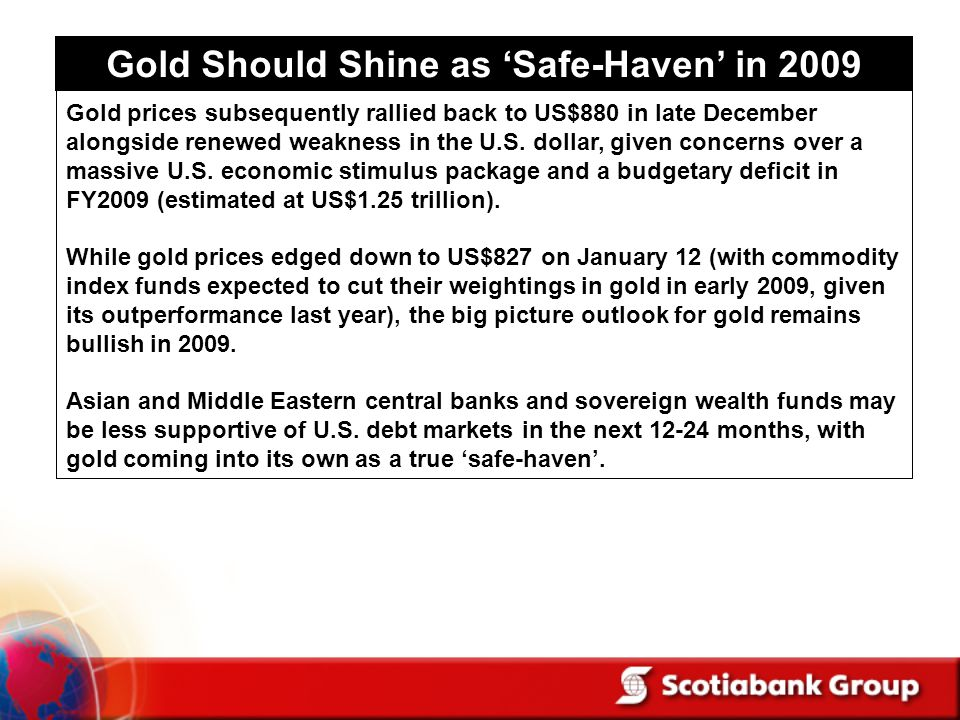 Gold Should Shine as Safe-Haven in 2009 Gold prices subsequently rallied back to US$880 in late December alongside renewed weakness in the U.S.