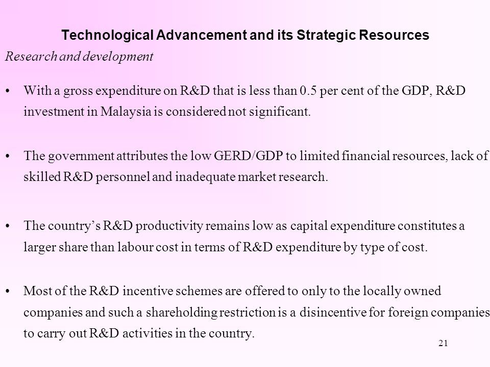 20 Technological Advancement and its Strategic Resources Human capital Malaysias human capital remains scarce and significantly pales in comparison wi
