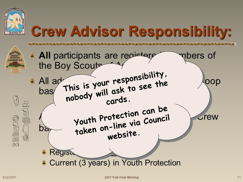 622-J / 704-O Crew Advisor Responsibility: All participants are registered members of the Boy Scouts of America.