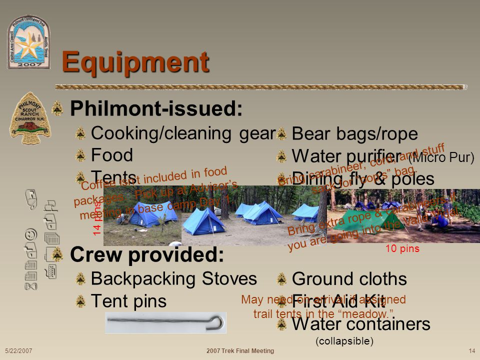 622-J / 704-O Philmont-issued: Cooking/cleaning gear Food Tents Crew provided: Backpacking Stoves Tent pins Equipment Bear bags/rope Water purifier (M