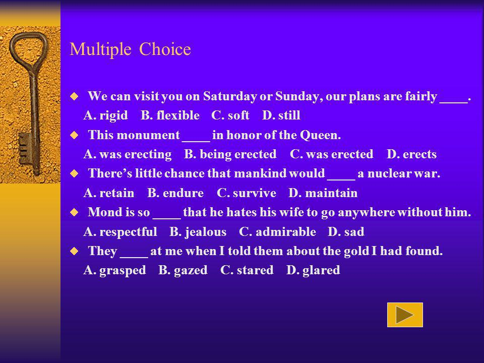 Multiple Choice We can visit you on Saturday or Sunday, our plans are fairly ____.