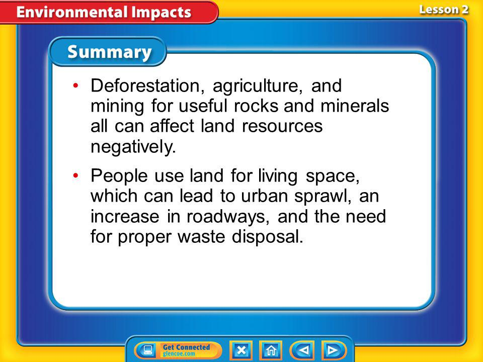 Lesson 2-4 Positive Actions (cont.) What can you do to help lessen your impact on the land?