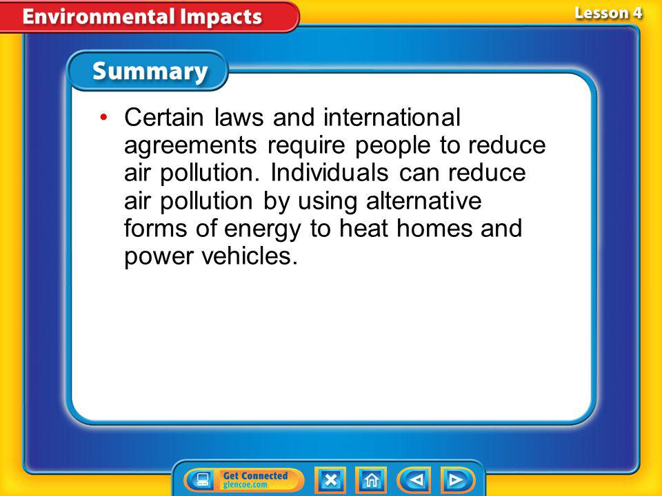 Lesson 4 - VS Air pollution can affect human health, causing eye, nose, and throat irritation, increased asthma, and headaches.