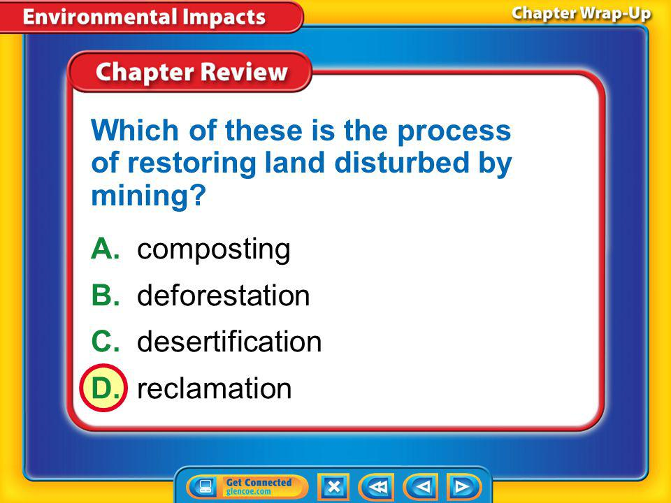 Chapter Review – MC2 A.deforestation B.desertification C.urban sprawl D.waste management What term refers to the development of land for houses and ot