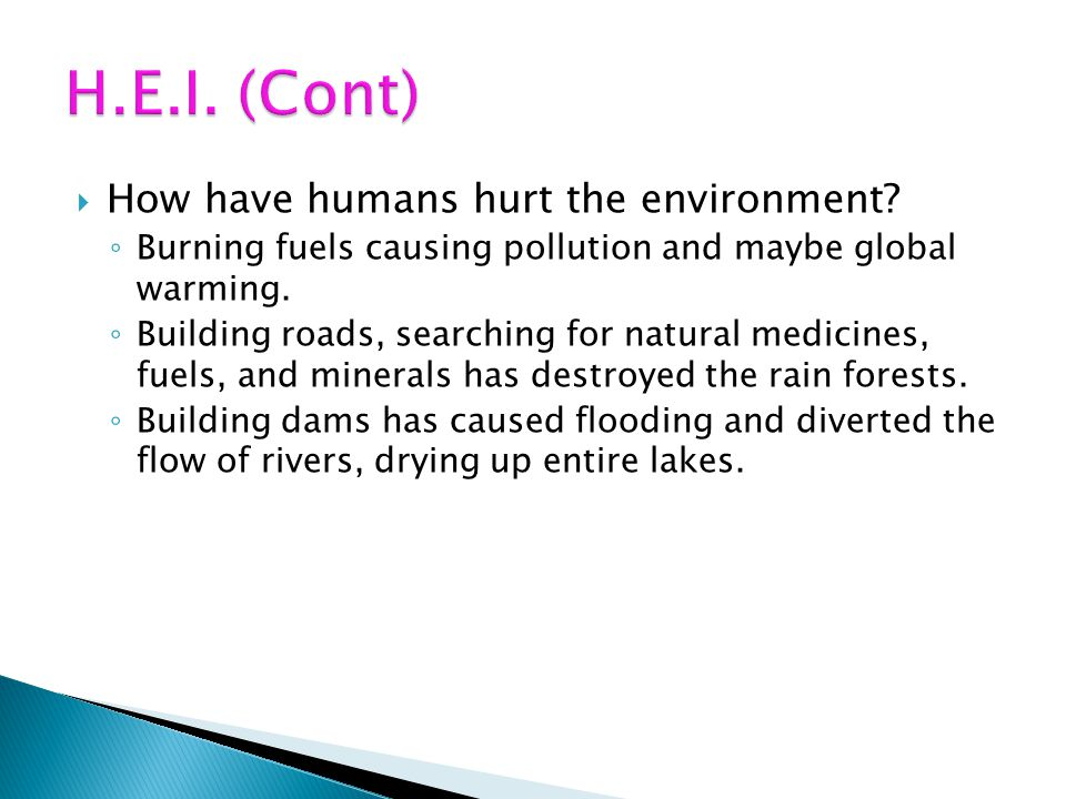 How have humans hurt the environment? Burning fuels causing pollution and maybe global warming. Building roads, searching for natural medicines, fuels