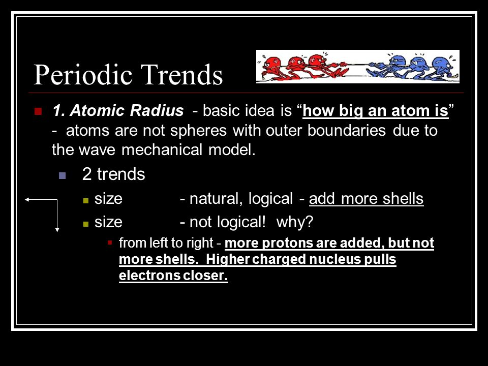 Periodic Trends 1. Atomic Radius - basic idea is how big an atom is - atoms are not spheres with outer boundaries due to the wave mechanical model. 2