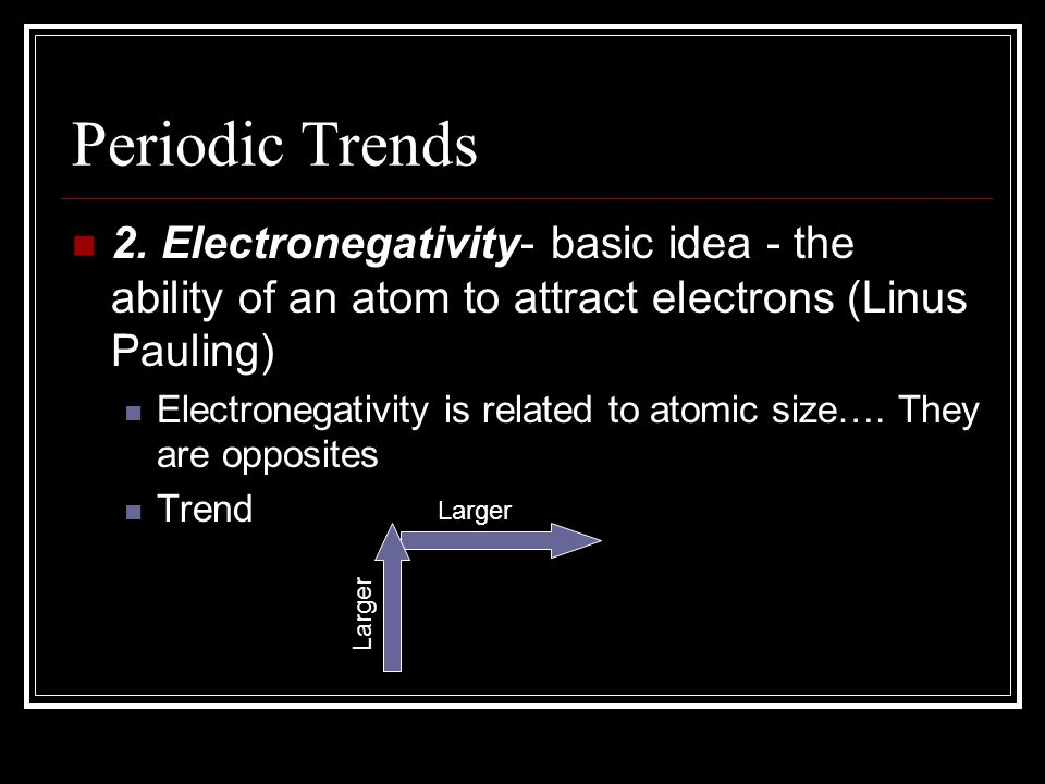 Periodic Trends 2. Electronegativity- basic idea - the ability of an atom to attract electrons (Linus Pauling) Electronegativity is related to atomic
