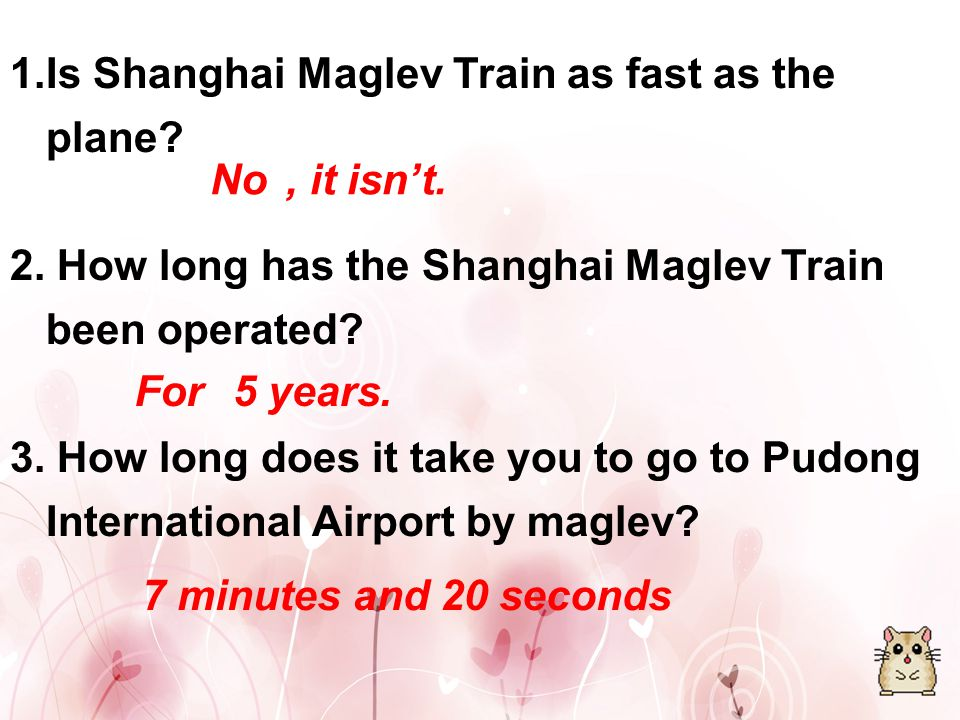 Introduction: Shanghai Maglev Train is the only commercial operation of speed maglev train, with a top speed of 430 km/h, which is next to the speed of plane.