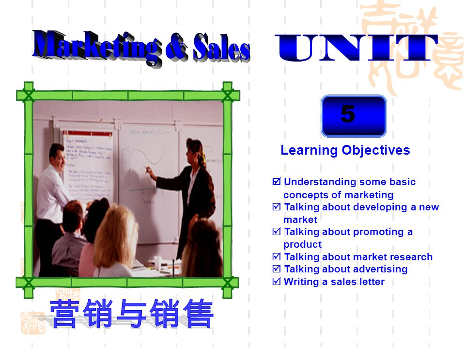 5 Learning Objectives Understanding some basic concepts of marketing Talking about developing a new market Talking about promoting a product Talking a