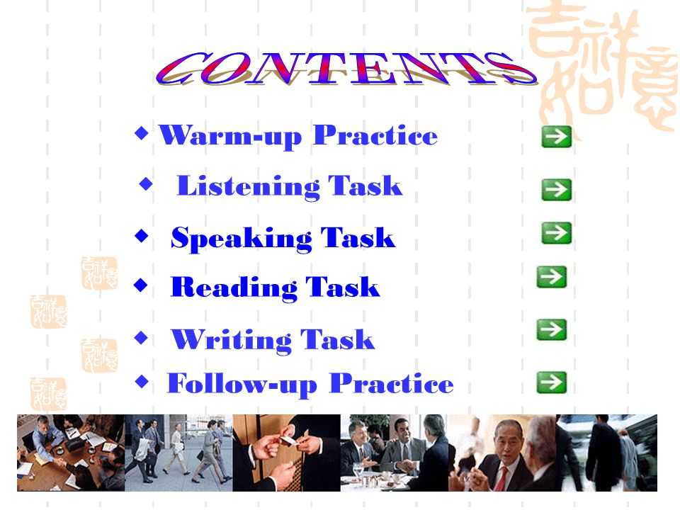 Speaking Task Warm-up Practice Listening Task Follow-up Practice Writing Task Reading Task