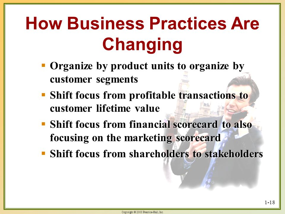Copyright © 2003 Prentice-Hall, Inc. 1-18 How Business Practices Are Changing Organize by product units to organize by customer segments Organize by p