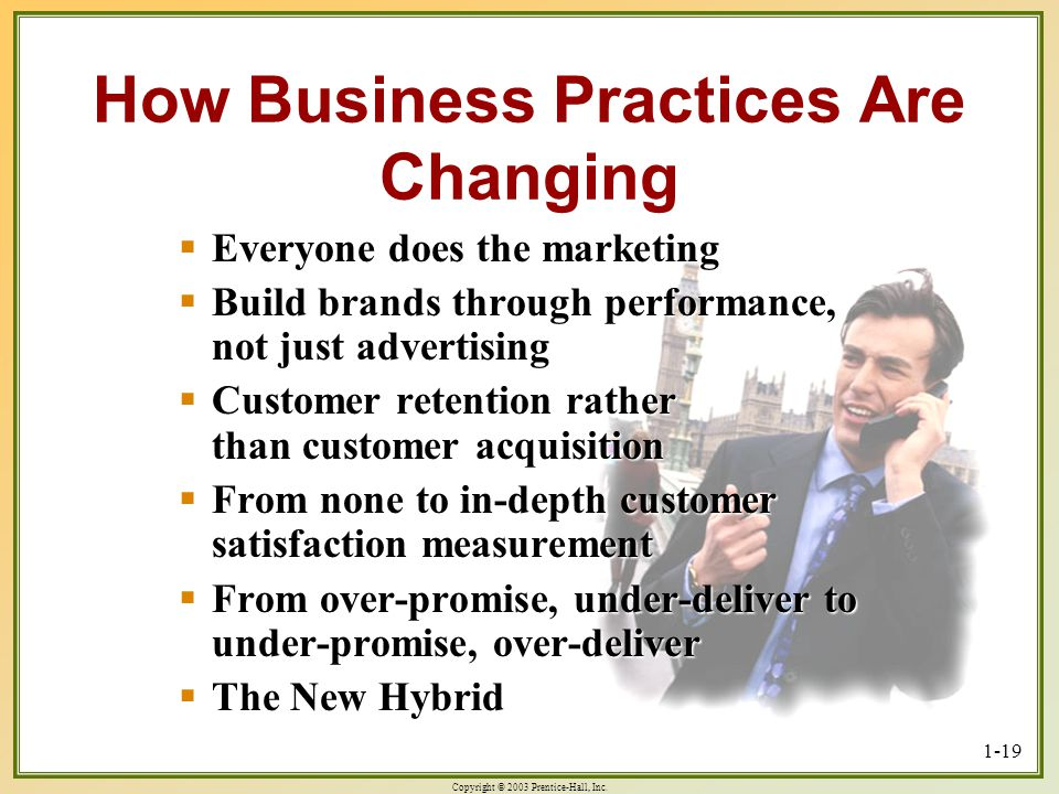 Copyright © 2003 Prentice-Hall, Inc. 1-19 How Business Practices Are Changing Everyone does the marketing Everyone does the marketing Build brands thr