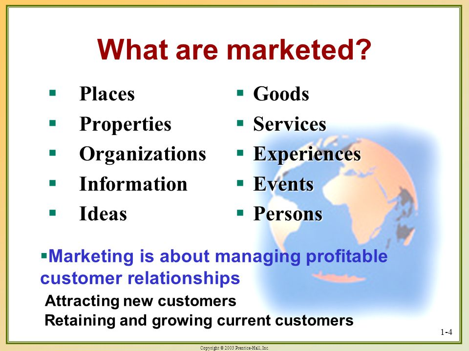 Copyright © 2003 Prentice-Hall, Inc. 1-4 What are marketed? Places Places Properties Properties Organizations Organizations Information Information Id
