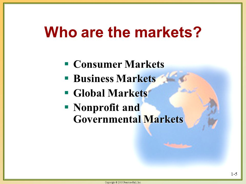 Copyright © 2003 Prentice-Hall, Inc. 1-5 Who are the markets? Consumer Markets Consumer Markets Business Markets Business Markets Global Markets Globa