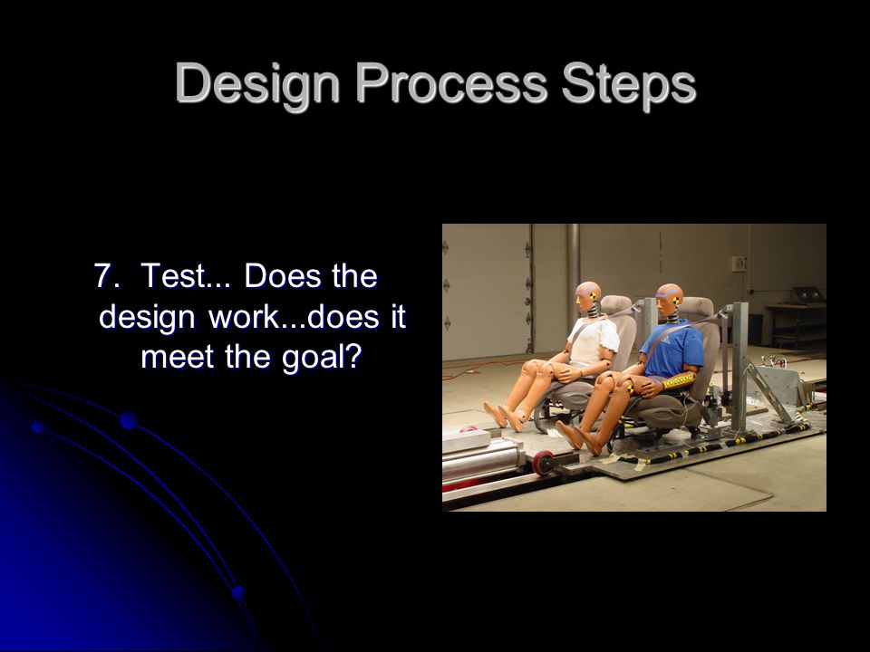 Design Process Steps 7. Test... Does the design work...does it meet the goal?