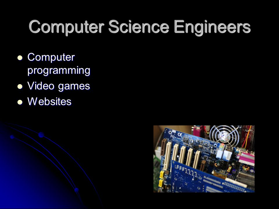 Computer Science Engineers Computer programming Computer programming Video games Video games Websites Websites