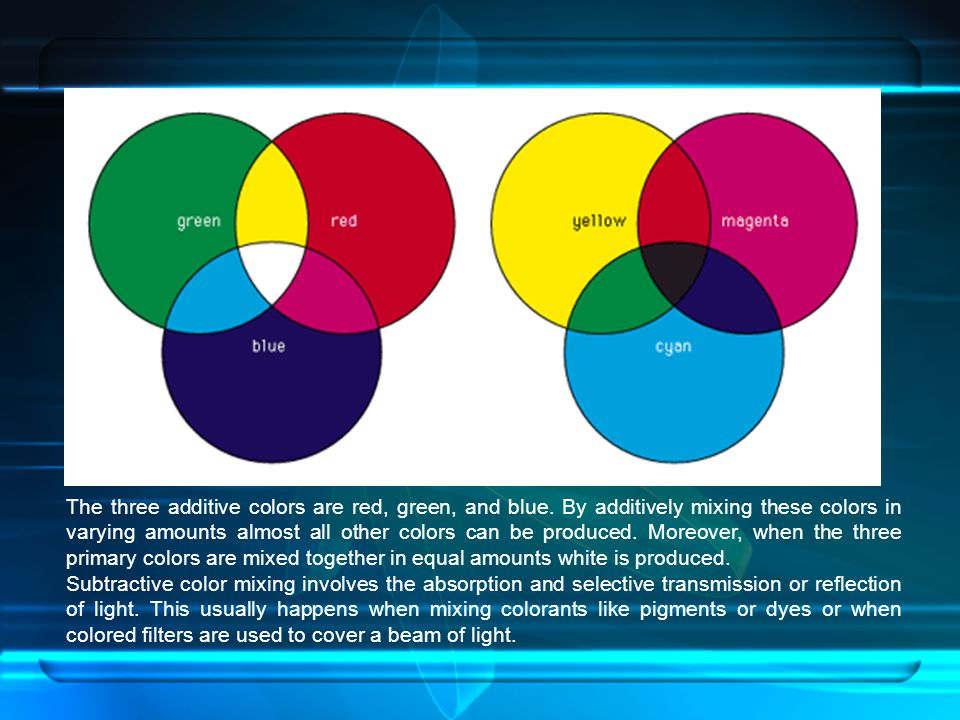 The three additive colors are red, green, and blue. By additively mixing these colors in varying amounts almost all other colors can be produced. More