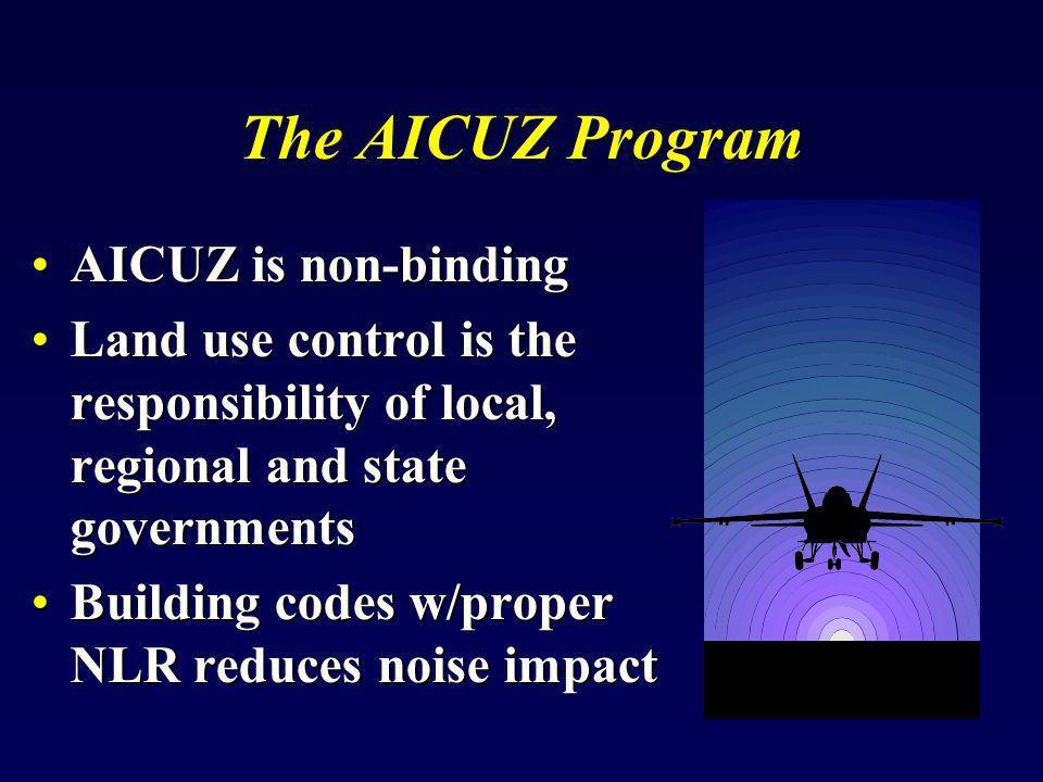 Model Building Code Appendix D, Noise level reduction Design RequirementsAppendix D, Noise level reduction Design Requirements –For NLR of 25 dB(65-70 DNL)25 dB(65-70 DNL) 30 dB(70-75 DNL)30 dB(70-75 DNL) 35 dB(75-80 DNL)35 dB(75-80 DNL) –Adaptable for: Commercial structuresCommercial structures Civil AirportsCivil Airports