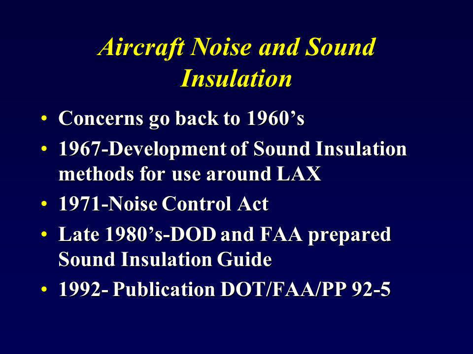 2005- Navy sponsored update2005- Navy sponsored update Serves as a guide for NLR in residential buildingsServes as a guide for NLR in residential buildings CoversCovers –Building materials and cost –New and existing construction New Sound Insulation Guidelines