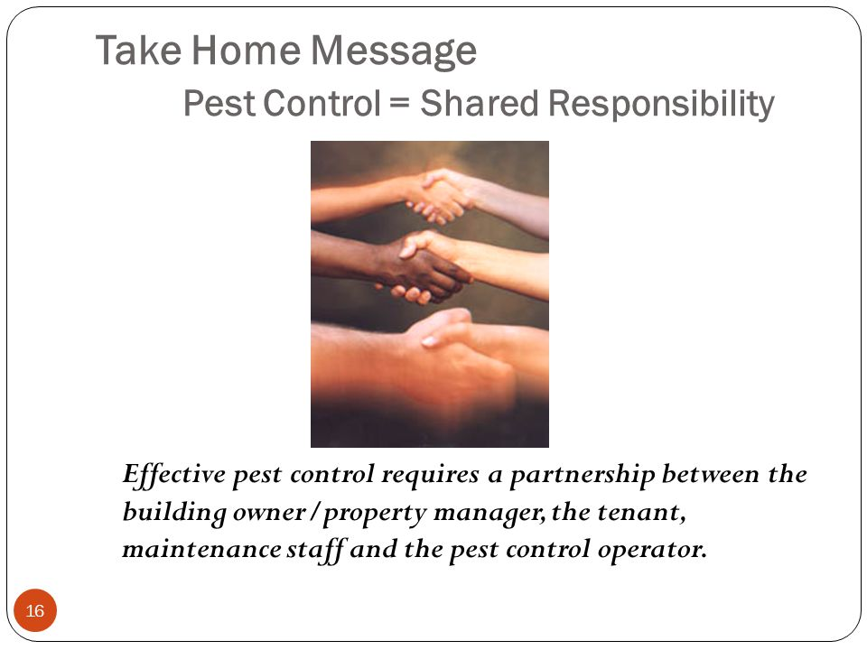 Take Home Message Pest Control = Shared Responsibility 16 Effective pest control requires a partnership between the building owner/property manager, the tenant, maintenance staff and the pest control operator.