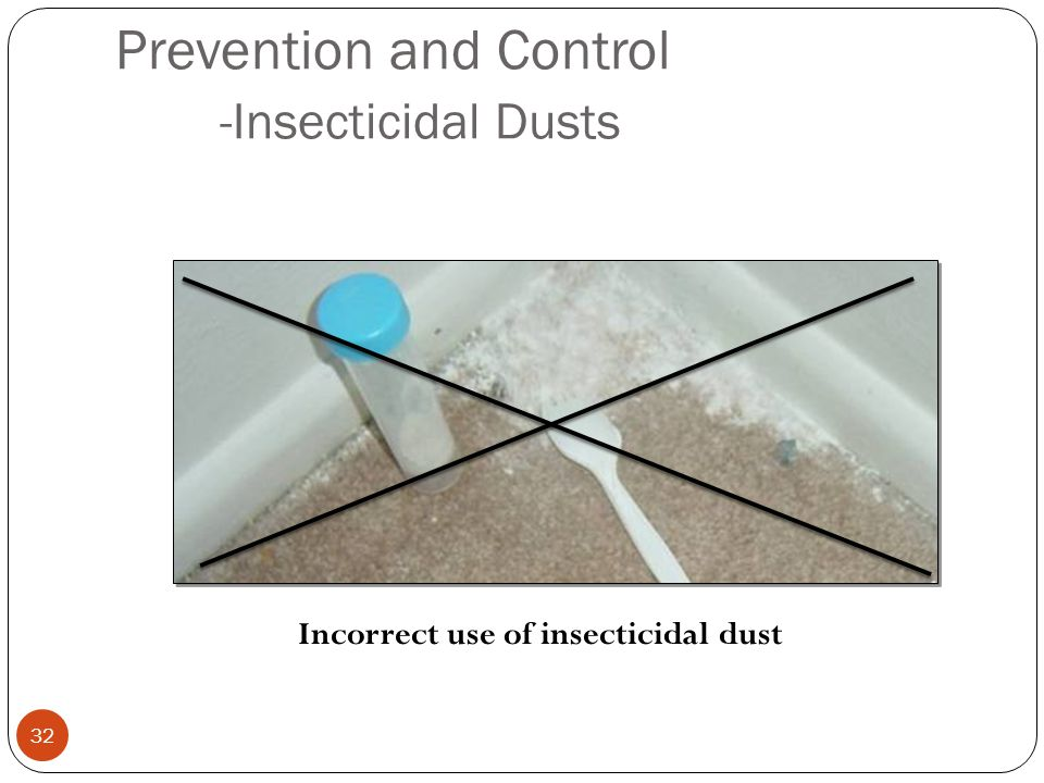 Prevention and Control -Insecticidal Dusts 32 Incorrect use of insecticidal dust