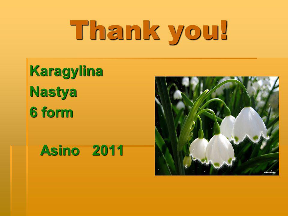 Thank you! Thank you! KaragylinaNastya 6 form Asino 2011 Asino 2011
