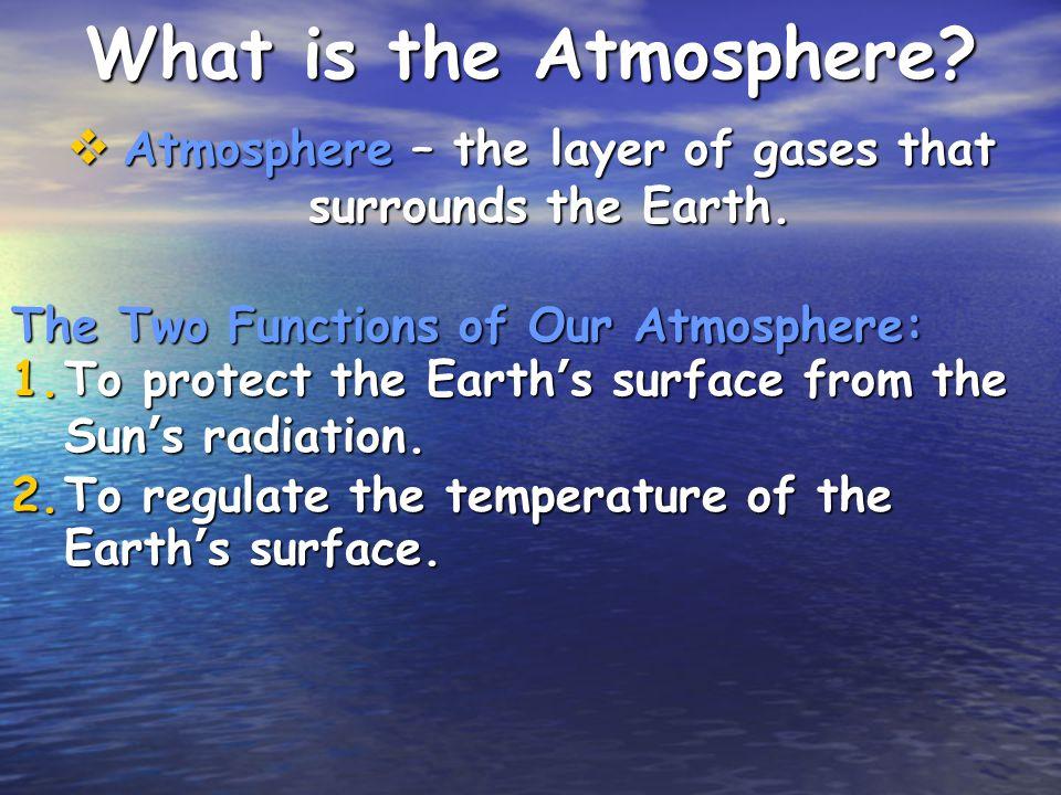 Chemical Composition of the Atmosphere Abundant Elements Nitrogen (78%) Nitrogen (78%) Oxygen (21%) Oxygen (21%) Argon (0.9%) Argon (0.9%) Abundant Compounds Carbon dioxide (CO 2 ) Carbon dioxide (CO 2 ) Water Vapor (H 2 O) Water Vapor (H 2 O)