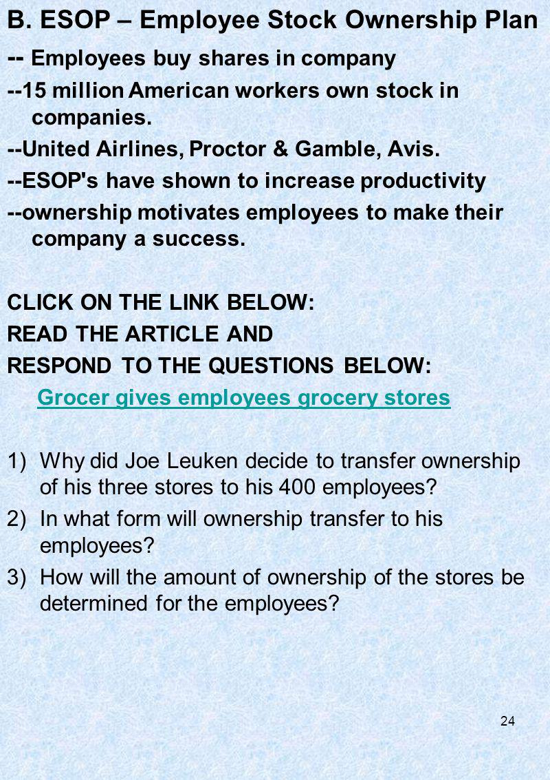 B. ESOP – Employee Stock Ownership Plan -- Employees buy shares in company --15 million American workers own stock in companies. --United Airlines, Pr