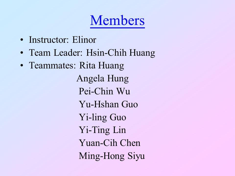 Members Instructor: Elinor Team Leader: Hsin-Chih Huang Teammates: Rita Huang Angela Hung Pei-Chin Wu Yu-Hshan Guo Yi-ling Guo Yi-Ting Lin Yuan-Cih Chen Ming-Hong Siyu