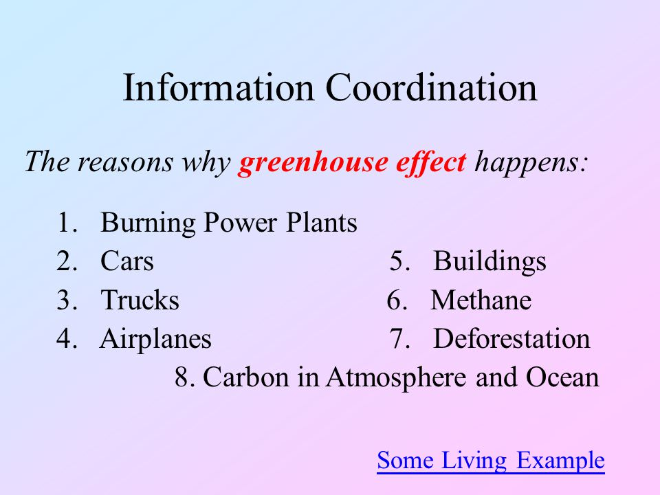 Information Coordination The reasons why greenhouse effect happens: 1.Burning Power Plants 2.Cars 5. Buildings 3.Trucks 6. Methane 4. Airplanes 7. Def