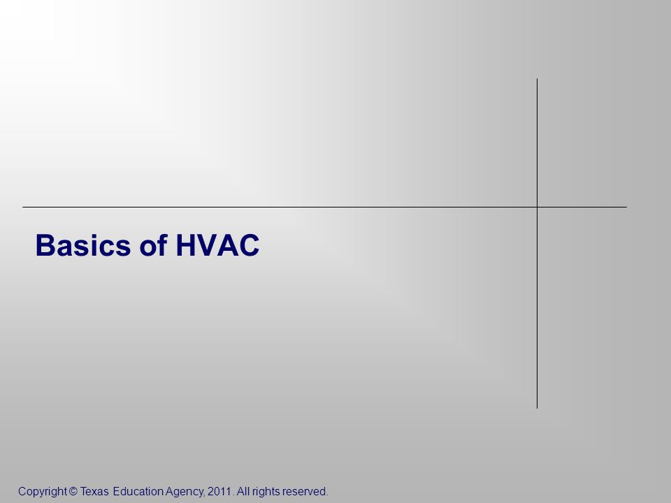 Copyright © Texas Education Agency, All rights reserved. Basics of HVAC