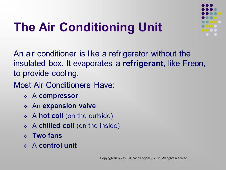 The Air Conditioning Unit An air conditioner is like a refrigerator without the insulated box.