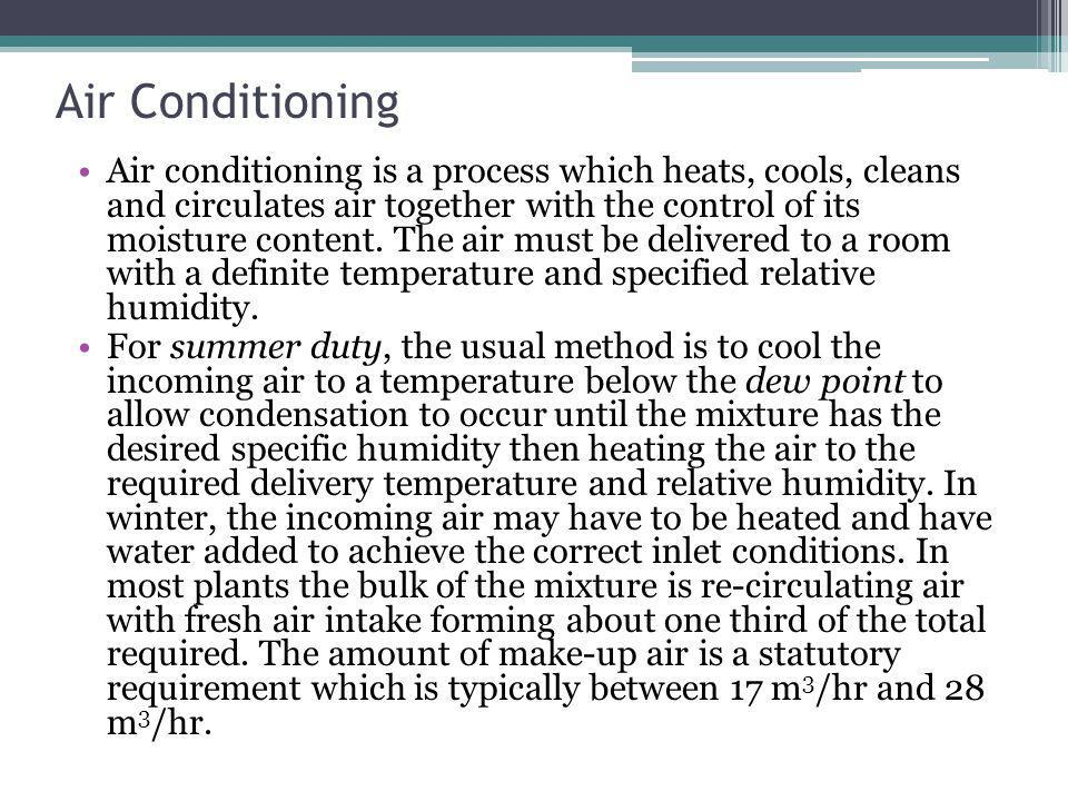 Air Conditioning Air conditioning is a process which heats, cools, cleans and circulates air together with the control of its moisture content.