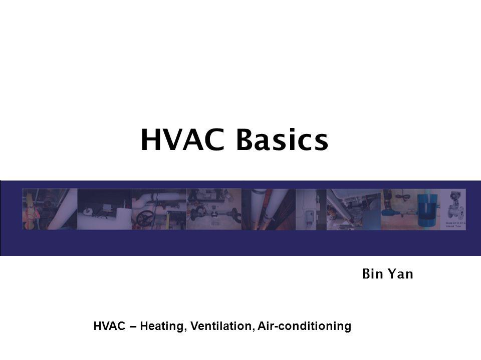 HVAC Basics Bin Yan HVAC – Heating, Ventilation, Air-conditioning