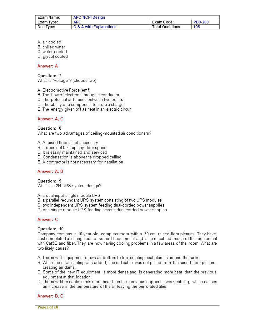 Exam Name: Exam Type: Doc Type: APC NCPI Design APC Q & A with Explanations Exam Code: Total Questions: PB0-200 105 A.