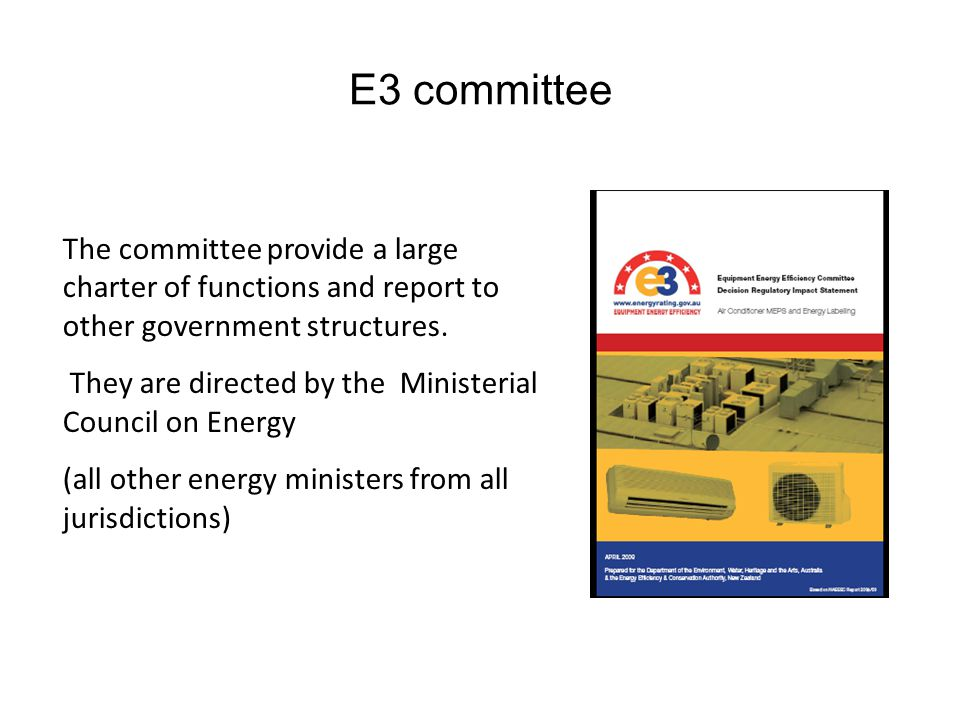 E3 committee The committee provide a large charter of functions and report to other government structures. They are directed by the Ministerial Counci
